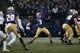 Nov 3, 2018; Seattle, WA, USA; Washington Huskies quarterback Jake Browning (3) throws a pass against the Stanford Cardinal during the second quarter at Husky Stadium. Mandatory Credit: Jennifer Buchanan-USA TODAY Sports