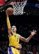 Nov 3, 2018; Portland, OR, USA; Los Angeles Lakers forward Kyle Kuzma (0) drives to the basket during the first half of the game against the Portland Trail Blazers at the Moda Center. Mandatory Credit: Steve Dykes-USA TODAY Sports