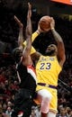 Nov 3, 2018; Portland, OR, USA; Los Angeles Lakers forward LeBron James (23) shoots the ball over  Portland Trail Blazers forward Al-Farouq Aminu (8) during the first half of the game at the Moda Center. Mandatory Credit: Steve Dykes-USA TODAY Sports