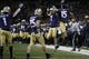 Nov 3, 2018; Seattle, WA, USA; Washington Huskies defensive back Taylor Rapp (7) celebrates with wide receiver Alex Cook (15) after coming up with the game winning interception against the Stanford Cardinal during the fourth quarter at Husky Stadium. Mandatory Credit: Jennifer Buchanan-USA TODAY Sports
