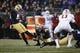 Nov 3, 2018; Seattle, WA, USA; Washington Huskies place kicker Peyton Henry (47) kicks a 38-yard field goal against the Stanford Cardinal during the fourth quarter at Husky Stadium. Mandatory Credit: Jennifer Buchanan-USA TODAY Sports