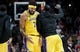 Nov 3, 2018; Portland, OR, USA; Los Angeles Lakers center JaVale McGee (7) reacts after scoring a basket late during the second half of the game at the Moda Center. The Lakers won the game 114-110. Mandatory Credit: Steve Dykes-USA TODAY Sports