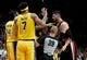 Nov 3, 2018; Portland, OR, USA; Portland Trail Blazers center Jusuf Nurkic (27) is held back by referee Tyler Ford (39) during an altercation during the second half of the game at the Moda Center. The Lakers won the game 114-110. Mandatory Credit: Steve Dykes-USA TODAY Sports