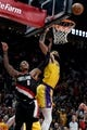 Nov 3, 2018; Portland, OR, USA; Los Angeles Lakers center JaVale McGee (7) blocks the shot of Portland Trail Blazers guard Damian Lillard (0) during the second half of the game at the Moda Center. The Lakers won the game 114-110. Mandatory Credit: Steve Dykes-USA TODAY Sports