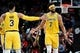 Nov 3, 2018; Portland, OR, USA; Los Angeles Lakers center JaVale McGee (7) celebrates with teammate guard Josh Hart (3) after scoring a basket late during the second half of the game at the Moda Center. The Lakers won the game 114-110. Mandatory Credit: Steve Dykes-USA TODAY Sports