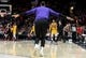 Nov 3, 2018; Portland, OR, USA; Los Angeles Lakers forward LeBron James (23) runs out onto the court after the Lakers scored late during the second half of the game against the Portland Trail Blazersat the Moda Center. The Lakers won the game 114-110. Mandatory Credit: Steve Dykes-USA TODAY Sports
