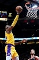 Nov 3, 2018; Portland, OR, USA; Los Angeles Lakers forward LeBron James (23) drives to the basket on Portland Trail Blazers forward Jake Layman (10) during the second half of the game at the Moda Center. The Lakers won the game 114-110. Mandatory Credit: Steve Dykes-USA TODAY Sports