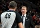 Nov 3, 2018; Portland, OR, USA; Portland Trail Blazers head coach Terry Stotts has words with referee Scott Foster (48) during the second half of the game at the Moda Center. The Lakers won the game 114-110. Mandatory Credit: Steve Dykes-USA TODAY Sports