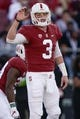 Oct 27, 2018; Stanford, CA, USA; Stanford Cardinal quarterback K.J. Costello (3) signals against the Washington State Cougars during the first quarter at Stanford Stadium. Mandatory Credit: Stan Szeto-USA TODAY Sports