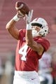 Oct 27, 2018; Stanford, CA, USA; Stanford Cardinal wide receiver Michael Wilson (4) warms up before the game against the Washington State Cougars at Stanford Stadium. Mandatory Credit: Stan Szeto-USA TODAY Sports