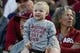 Oct 27, 2018; Stanford, CA, USA; Washington State Cougars fan smiles in the game against the Stanford Cardinal during the third quarter at Stanford Stadium. Mandatory Credit: Stan Szeto-USA TODAY Sports