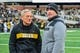 Nov 10, 2018; Iowa City, IA, USA; Iowa Hawkeyes head coach Kirk Ferentz (left) and Northwestern Wildcats head coach Pat Fitzgerald (right) talk before a game at Kinnick Stadium. Mandatory Credit: Jeffrey Becker-USA TODAY Sports