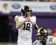 Nov 9, 2018; Cedar Falls, IA, USA; Southeast Polk Rams QB Josiah Cole (18) calls timeout in their game with the Cedar Falls Tigers at the UNI Dome. The Rams lost to the Tigers 26-12.  Ncaa Football Texas Tech At Iowa State