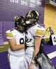 Nov 9, 2018; Cedar Falls, IA, USA; Southeast Polk Rams Derrius Taylor (94) and Southeast Polk Rams Dylan Travis (6) take a moment after losing to the Cedar Falls Tigers at the UNI Dome. The Rams lost to the Tigers 26-12.  Ncaa Football Texas Tech At Iowa State