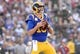 November 11, 2018; Los Angeles, CA, USA; Los Angeles Rams quarterback Jared Goff (16) drops back to pass against the Seattle Seahawks during the first half at the Los Angeles Memorial Coliseum. Mandatory Credit: Gary A. Vasquez-USA TODAY Sports