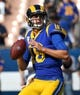 Nov 11, 2018; Los Angeles, CA, USA; Los Angeles Rams quarterback Jared Goff (16) warms up before a game against the Seattle Seahawks at the Memorial Coliseum. Mandatory Credit: Jayne Kamin-Oncea-USA TODAY Sports