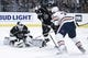 Nov 25, 2018; Los Angeles, CA, USA; Los Angeles Kings goalie Cal Petersen (40) makes a save in front of Edmonton Oilers center Kyle Brodziak (28) during the first period at Staples Center. Mandatory Credit: Kelvin Kuo-USA TODAY Sports