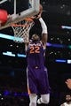 Dec 2, 2018; Los Angeles, CA, USA; Phoenix Suns center Deandre Ayton (22) loses control of the ball as he tries to slam dunk in the first quarter against the Los Angeles Lakers at Staples Center. Mandatory Credit: Robert Hanashiro-USA TODAY Sports
