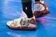 """Dec 2, 2018; Dallas, TX, USA; A view of the \""""Good Burger\"""" movie themed shoes of LA Clippers forward Montrezl Harrell (5) as he warms up before the game between the Dallas Mavericks and the LA Clippers at the American Airlines Center. Mandatory Credit: Jerome Miron-USA TODAY Sports"""