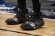 Dec 2, 2018; Dallas, TX, USA; A view of the shoes of LA Clippers forward Mike Scott (30) as he warms up before the game between the Dallas Mavericks and the LA Clippers at the American Airlines Center. Mandatory Credit: Jerome Miron-USA TODAY Sports