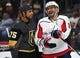 Dec 4, 2018; Las Vegas, NV, USA; Vegas Golden Knights right wing Ryan Reaves (75) talks with Washington Capitals left wing Alex Ovechkin (8) during the first period at T-Mobile Arena. Mandatory Credit: Stephen R. Sylvanie-USA TODAY Sports