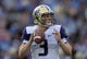 Oct 6, 2018; Pasadena, CA, USA; Washington Huskies quarterback Jake Browning (3) throws a pass in the second quarter against the UCLA Bruins at Rose Bowl. Mandatory Credit: Kirby Lee-USA TODAY Sports