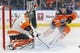 Dec 14, 2018; Edmonton, Alberta, CAN; Philadelphia Flyers goaltender Anthony Stolarz (41) makes a save on Edmonton Oilers forward Jesse Puljujarvi (98) during the first period at Rogers Place. Mandatory Credit: Perry Nelson-USA TODAY Sports