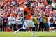 Sep 16, 2018; Denver, CO, USA; Denver Broncos quarterback Case Keenum (4) drops back to pass in the first quarter against the Oakland Raiders at Broncos Stadium at Mile High. Mandatory Credit: Isaiah J. Downing-USA TODAY Sports