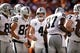 Sep 16, 2018; Denver, CO, USA; Oakland Raiders quarterback Derek Carr (4) with wide receiver Jordy Nelson (82) and tight end Jared Cook (87) in the second quarter against the Denver Broncos at Broncos Stadium at Mile High. Mandatory Credit: Isaiah J. Downing-USA TODAY Sports