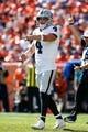 Sep 16, 2018; Denver, CO, USA; Oakland Raiders quarterback Derek Carr (4) in the first quarter against the Denver Broncos at Broncos Stadium at Mile High. Mandatory Credit: Isaiah J. Downing-USA TODAY Sports