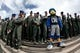 Sep 1, 2018; Colorado Springs, CO, USA; Air Force Falcons mascot The Bird with cadets in the first quarter of the game against the Stony Brook Seawolves at Falcon Stadium. Mandatory Credit: Isaiah J. Downing-USA TODAY Sports