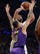December 21, 2018; Los Angeles, CA, USA; New Orleans Pelicans forward Anthony Davis (23) shoots against Los Angeles Lakers forward Kyle Kuzma (0) during the first half at Staples Center. Mandatory Credit: Gary A. Vasquez-USA TODAY Sports