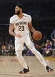 December 21, 2018; Los Angeles, CA, USA; New Orleans Pelicans forward Anthony Davis (23) controls the ball against the Los Angeles Lakers during the first half at Staples Center. Mandatory Credit: Gary A. Vasquez-USA TODAY Sports