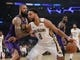 December 21, 2018; Los Angeles, CA, USA; New Orleans Pelicans center Jahlil Okafor (8) moves the ball against Los Angeles Lakers center Tyson Chandler (5) during the first half at Staples Center. Mandatory Credit: Gary A. Vasquez-USA TODAY Sports