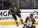 Dec 22, 2018; Las Vegas, NV, USA; Vegas Golden Knights center Brandon Pirri (73) celebrates after scoring a first period goal against the Montreal Canadiens at T-Mobile Arena. Mandatory Credit: Stephen R. Sylvanie-USA TODAY Sports