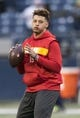 Dec 23, 2018; Seattle, WA, USA; Kansas City Chiefs quarterback Patrick Mahomes (15) warms up prior to the game against the Seattle Seahawks at CenturyLink Field. Mandatory Credit: Steven Bisig-USA TODAY Sports