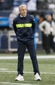 Dec 23, 2018; Seattle, WA, USA; Seattle Seahawks head coach Pete Carroll prior to the game against the Kansas City Chiefs at CenturyLink Field. Mandatory Credit: Steven Bisig-USA TODAY Sports