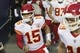 Dec 23, 2018; Seattle, WA, USA; Kansas City Chiefs quarterback Patrick Mahomes (15) leads the offense out of the tunnel during warmups prior to the game against the Seattle Seahawks at CenturyLink Field. Mandatory Credit: Steven Bisig-USA TODAY Sports