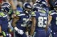 Dec 23, 2018; Seattle, WA, USA; Seattle Seahawks running back Chris Carson (32) celebrates with teammates after rushing for a touchdown against the Kansas City Chiefs during the first quarter at CenturyLink Field. Mandatory Credit: Joe Nicholson-USA TODAY Sports