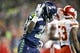 Dec 23, 2018; Seattle, WA, USA; Seattle Seahawks running back Chris Carson (32) celebrates after rushing for a touchdown against the Kansas City Chiefs during the first quarter at CenturyLink Field. Mandatory Credit: Joe Nicholson-USA TODAY Sports