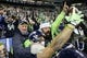 Dec 23, 2018; Seattle, WA, USA; Seattle Seahawks tight end Nick Vannett (81) celebrates with fans after catching a touchdown pass against the Kansas City Chiefs during the second quarter at CenturyLink Field. Mandatory Credit: Joe Nicholson-USA TODAY Sports