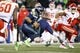 Dec 23, 2018; Seattle, WA, USA; Seattle Seahawks quarterback Russell Wilson (3) rushes against the Kansas City Chiefs during the second quarter at CenturyLink Field. Mandatory Credit: Joe Nicholson-USA TODAY Sports