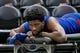 Dec 27, 2018; Salt Lake City, UT, USA; Philadelphia 76ers center Joel Embiid (21) is massaged prior to the game against the Utah Jazz at Vivint Smart Home Arena. Mandatory Credit: Russ Isabella-USA TODAY Sports