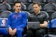 Dec 27, 2018; Salt Lake City, UT, USA; Philadelphia 76ers guard Landry Shamet (left) reviews video with assistant coach Billy Lange prior to the game against the Utah Jazz at Vivint Smart Home Arena. Mandatory Credit: Russ Isabella-USA TODAY Sports