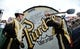 Dec 28, 2018; Nashville, TN, USA; Members of the Purdue Boilermakers hit the Purdue Big Bass Drum before the bowl game against the Auburn Tigers in the 2018 Music City Bowl at Nissan Stadium. Mandatory Credit: Christopher Hanewinckel-USA TODAY Sports