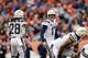 Dec 30, 2018; Denver, CO, USA; Los Angeles Chargers quarterback Philip Rivers (17) calls out to running back Melvin Gordon (28) from the line of scrimmage in the first quarter against the Denver Broncos at Broncos Stadium at Mile High. Mandatory Credit: Isaiah J. Downing-USA TODAY Sports
