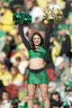 Dec 31, 2018; Santa Clara, CA, USA; Oregon Ducks cheerleader entertains the crowd in the game against the Michigan State Spartans during the second quarter at Levi's Stadium. Mandatory Credit: Stan Szeto-USA TODAY Sports