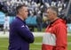 Dec 31, 2018; San Diego, CA, United States; Northwestern Wildcats head coach Pat Fitzgerald (left) and Utah Utes head coach Kyle Whittingham talk during the 2018 Holiday Bowl at SDCCU Stadium. Mandatory Credit: Kirby Lee-USA TODAY Sports