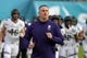 Dec 31, 2018; San Diego, CA, United States; Northwestern Wildcats head coach Pat Fitzgerald runs onto the field during the 2018 Holiday Bowl against the Utah Utes at SDCCU Stadium. Mandatory Credit: Kirby Lee-USA TODAY Sports