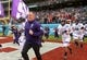 Dec 31, 2018; San Diego, CA, United States; Northwestern Wildcats head coach Pat Fitzgerald leads players onto the field in the 2018 Holiday Bowl against the Utah Utes at SDCCU Stadium. Mandatory Credit: Kirby Lee-USA TODAY Sports